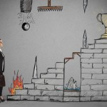 Businesswoman in front of staircase with obstacles